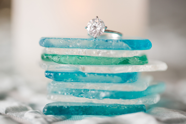 Wedding Ring on Sea Glass