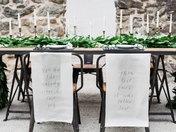 Wedding Table with Calligraphy and Greenery