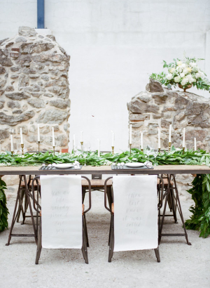 Wedding Table with Greenery and Calligraphy
