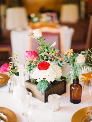 White and Fuchsia Centerpiece