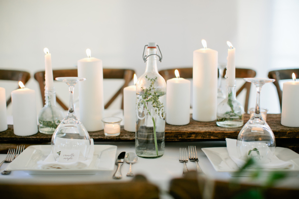 Wood and Pillar Candle Centerpiece
