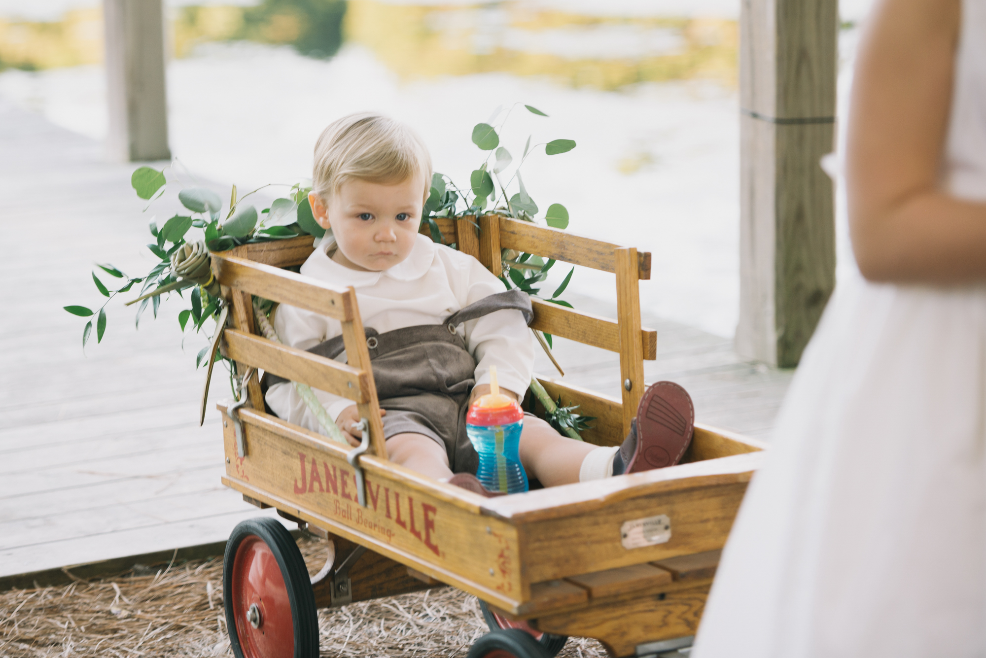 Baby In Wagon At Wedding