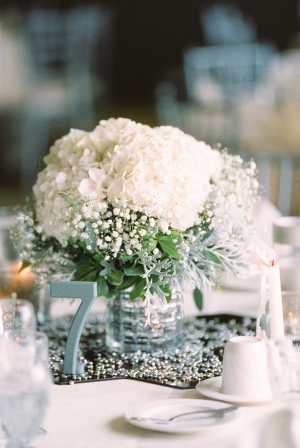 Babys Breath and White Hydrangea Centerpiece