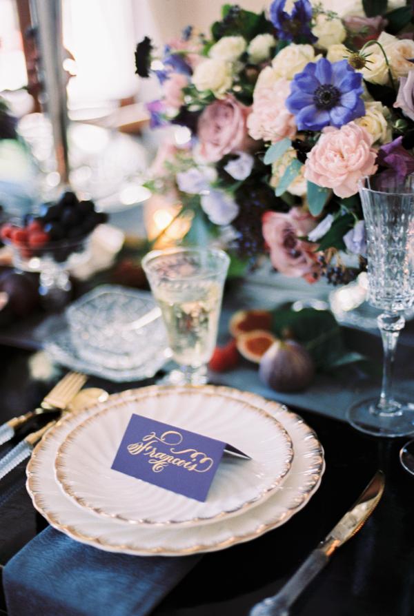 Blue Purple and Lavender Centerpiece