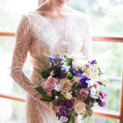 Bride in Blush Lace Gown