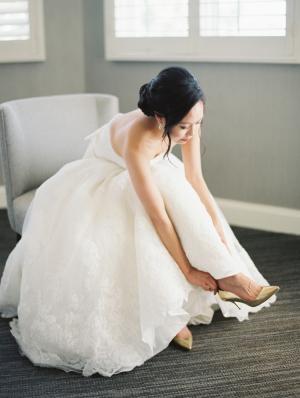 Bride in Pronovias Gown