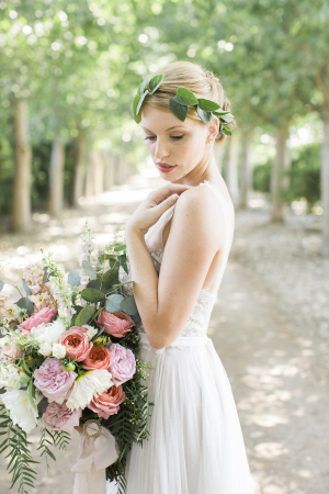 Bride with Coral and Lavender Bouquet