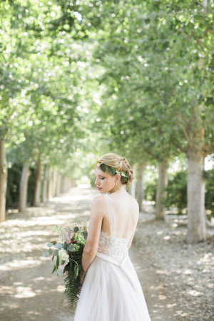 Bride with Greenery in Hair
