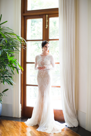 Dramatic Lace Column Wedding Dress