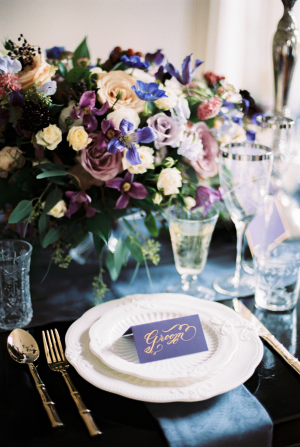 Elegant Blue and Purple Tabletop