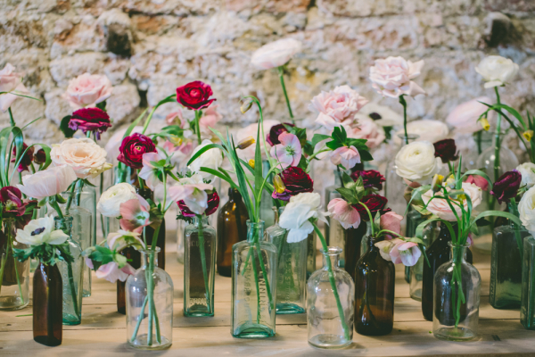 Flowers in Blown Glass Vases