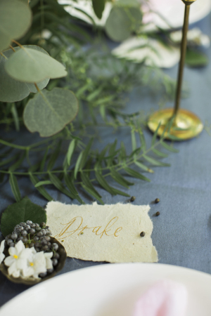 Gold Calligraphy on Place Card