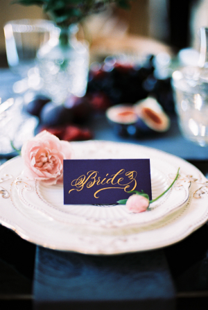 Gold Calligraphy on Purple Place Card