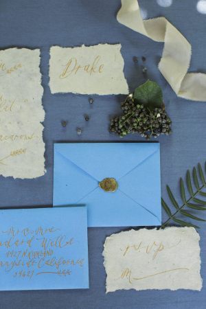 Gold and Blue Wedding Invitations