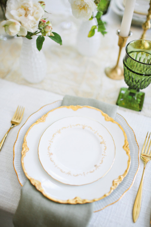 Gold and Sage Wedding Place Setting