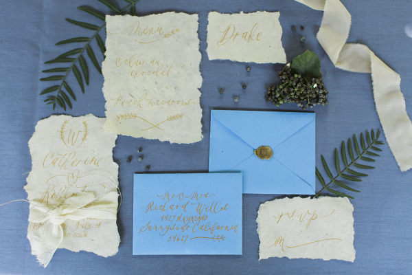 Gold and Sky Blue Wedding Invitations