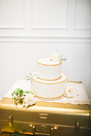 Gold and White Wedding Cake