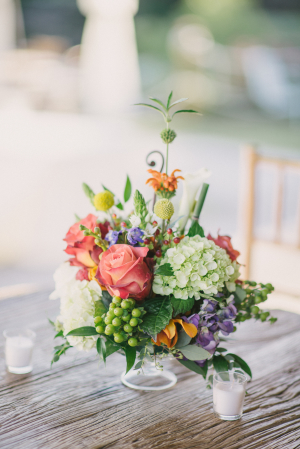 Green and Coral Fall Centerpiece