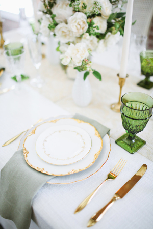 Green and Gold Wedding Table