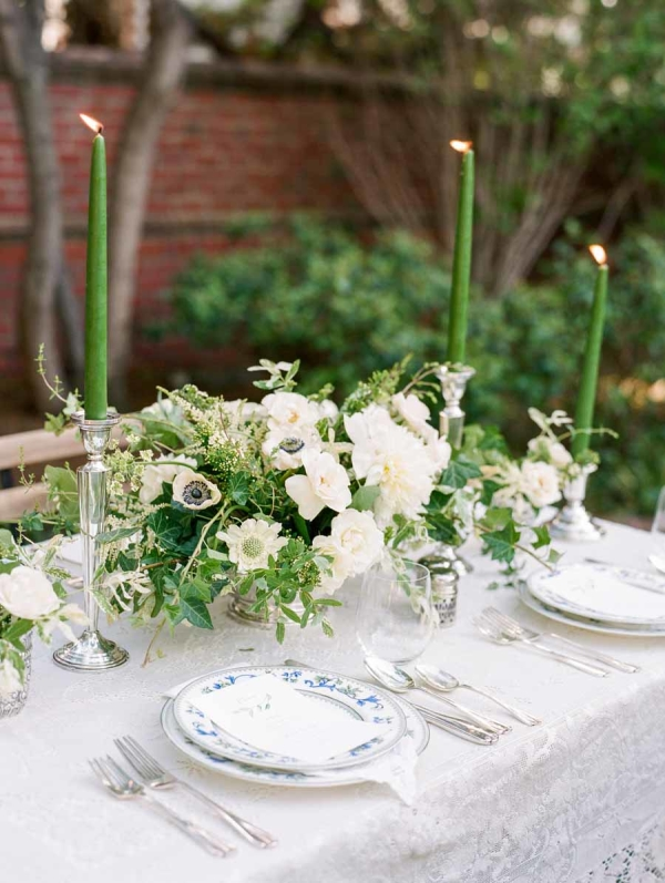 Green and Ivory Centerpiece with Taper Candles