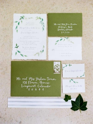 Green and White Wedding Invitation Suite