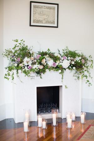 Greenery and Flowers on Mantel