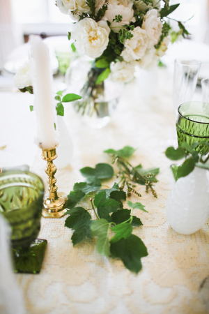 Greenery and Taper Candle Centerpiece