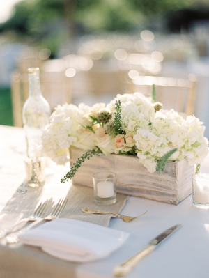Hydrangea Centerpiece in Wood Vessel