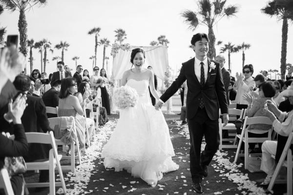 Just Married Walking Down Aisle