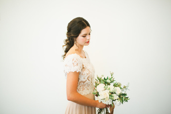 Lace and Mauve Wedding Dress