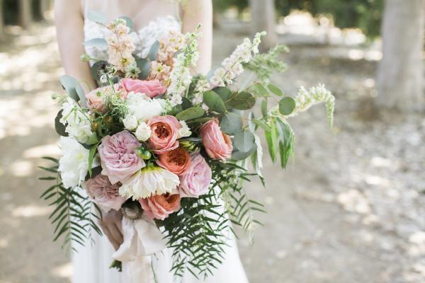 Lavender and Pale Coral Bouquet