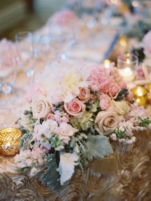 Pastel Flower and Dusty Miller Centerpiece