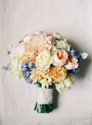 Peach Pale Orange and Blue Bouquet