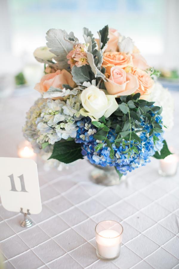 Peach rose and blue hydrangea centerpiece elizabeth anne