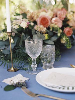 Pink Wedding Flowers on Blue Linen