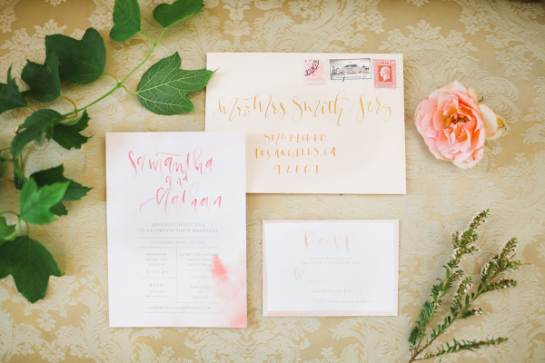 Pink and Peach Wedding Stationery
