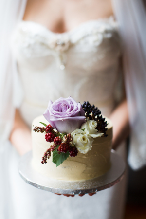 Purple and Berry Flowers on Cake