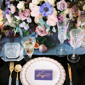 Purple and Blue Wedding Centerpiece