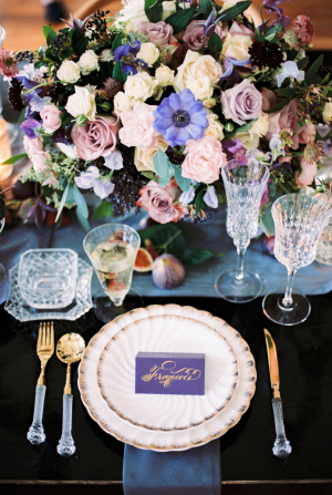 Purple and Blue Wedding Centerpiece