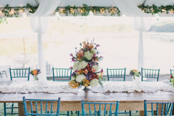 Wedding Table with Turquoise Chairs