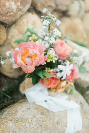 Bouquet with Coral Peonies