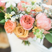 Bouquet with Coral and Pink Flowers