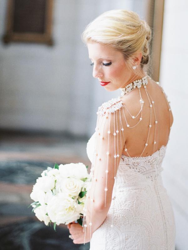 Bride in Pearl Shoulder Necklace Elizabeth Anne Designs The
