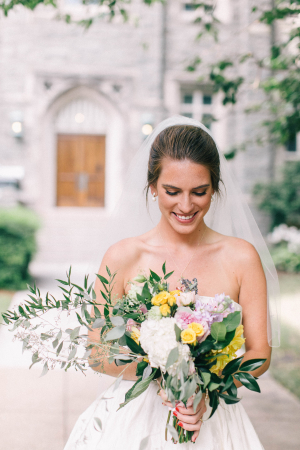 Bride with Green and Yellow Bouquet