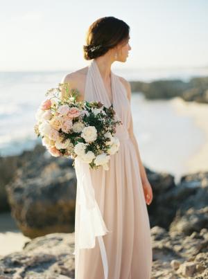 Bridesmaid in Blush Silk Dress