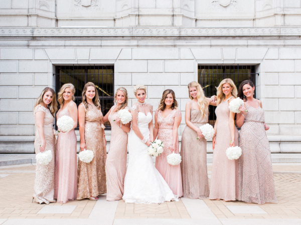 Bridesmaids in Blush Beaded Gowns