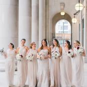 Bridesmaids in Neutral Dresses