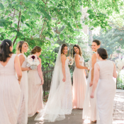 Bridesmaids in Pale Taupe Gowns
