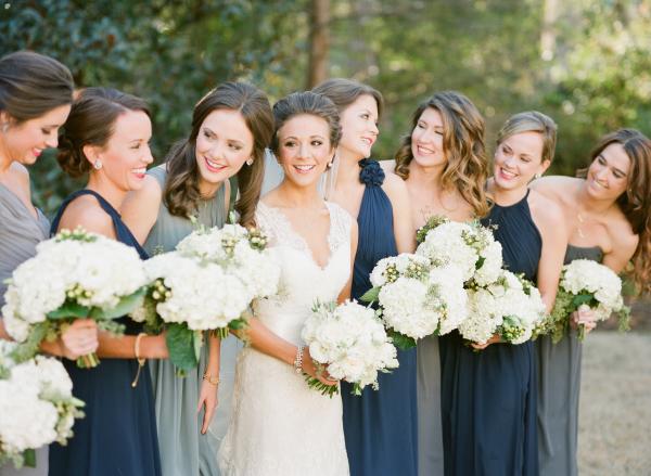 Bridesmaids in Slate Blue