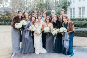 Bridesmaids in Winter Wraps